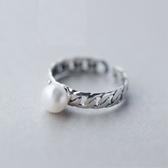 戒指 925純銀 珍珠-精緻典雅生日情人節禮物女開口戒73dt86【時尚巴黎】