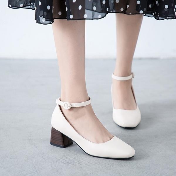 大尺碼女鞋34~43 2020歐美時尚百搭方頭繞踝中跟鞋 OL工作鞋~3色