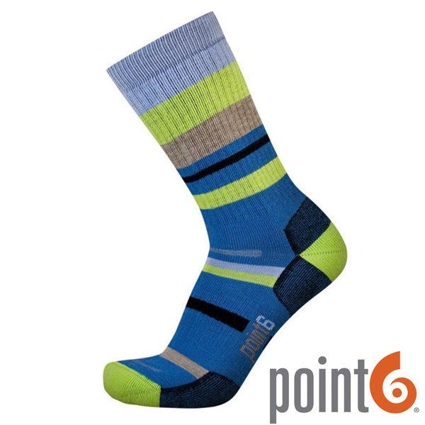 【POINT 6 美國】mixed stripe medium 健行中筒羊毛襪 『條紋藍』22611567 露營|休閒|保暖襪|羊毛