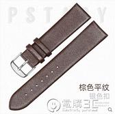 錶帶男女蝴蝶扣超薄平紋牛皮手錶帶 電購3C