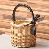 迷你野餐籃柳編菜籃子手提包包花收納筐水果籃包裝籃拍照道具花籃【小梨雜貨鋪】