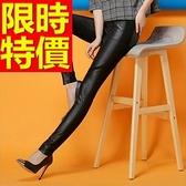 皮褲-造型彈力休閒女長褲1色63u41【巴黎精品】