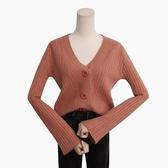 針織衫 素色 毛衣 排釦 V領 喇叭袖 短款 長袖 針織外套【NDF5260】 BOBI  09/27