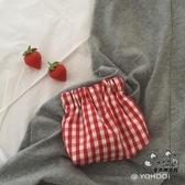 短夾 可愛紅格子零錢包袋硬幣收納包少女短款卡包 VK455