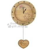 〔小禮堂〕Hello Kitty 愛心鐘擺連續秒針圓形木製壁掛鐘《棕》時鐘.木鐘 3118065-70001