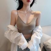 交叉鏤空美背純色運動內衣女2020春季新款復古短款打底吊帶背心潮