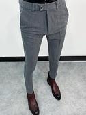 男士商務休閒西褲男黑色小腳褲秋季長褲子韓版修身潮流正裝西裝褲