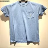 KANGOL 兒童藍色 白小LOGO口袋圓領短袖上衣 6126500381
