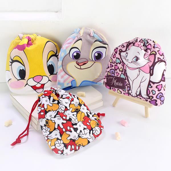 迪士尼絨布印花束口袋 米奇+瑪麗貓+動物方程式 旅行置物袋 小物袋