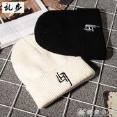針織帽INS網紅針織男女刺繡護耳保暖白色毛線帽冬帽情侶帽 優家小鋪