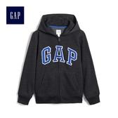 Gap男童 Logo舒適抓絨基本款圖案拉鏈連帽長袖休閒外套 260311-炭灰