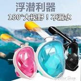潛水面罩成人兒童全干式浮潛面罩三寶全臉呼吸器裝備面鏡防霧 快速出貨