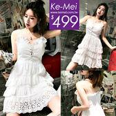 克妹Ke-Mei【ZT52131】波西甜心渡假風法式蕾絲釘釦美背連身洋裝