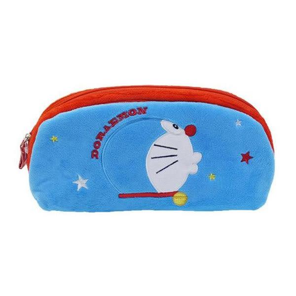 【日本進口正版】哆啦A夢 DORAEMON 藍色款 絨毛 筆袋 鉛筆盒 化妝包 收納包 小叮噹 - 150632