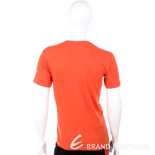 TRUSSARDI T-shirt  橘色條紋飾 V領 短袖上衣 1320280-73