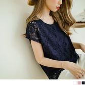 OB嚴選《AB3666-》素色浪漫蕾絲設計連袖上衣.2色  --適 S~L