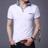 Polo衫男士大碼短袖t恤2020新款半袖體桖棉質有領寬鬆中年爸爸襯衫領翻領衫LXY7435【黑色妹妹】