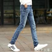 青少年夏季牛仔褲男士彈力修身小腳褲子男生時尚復古潮流休閒長褲「時尚彩紅屋」
