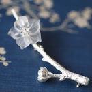古典文藝氣質白水晶花朵925純銀樹枝胸針/設計家