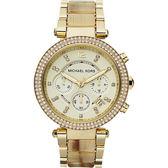 Michael Kors MK 美式奢華晶鑽三眼計時手錶-金 MK5632