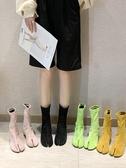 豬蹄鞋 秋新款綠色黃色糖果色方頭豬蹄分趾馬丁靴短靴粗跟女鞋 小天後