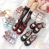 lolita小皮鞋厚底可愛少女平底圓頭娃娃鞋【聚可愛】