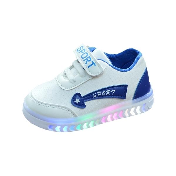 兒童小白鞋男女寶寶鞋皮面防水板鞋秋季1-6歲閃亮燈白色運動童鞋