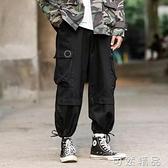 春季日系机能工装裤男加肥加大码宽鬆抽绳直筒裤胖子潮牌休闲长裤 可然精品