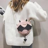 降價兩天 搞怪小包包女2020新款韓版小魔鬼可愛小圓包毛絨條單肩斜挎包潮