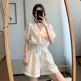 雪紡衫上衣+短褲 兩件式套裝-媚儷香檳-【D1622】
