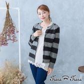 【Tiara Tiara】激安 橫紋針織羊毛排釦罩衫外套(綠/黑)