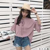 MG 喇叭袖-韓版復古喇叭袖短袖雪紡上衣