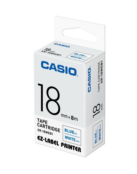 CASIO 標籤機專用色帶-18mm【白底藍字XR-18WEB1】