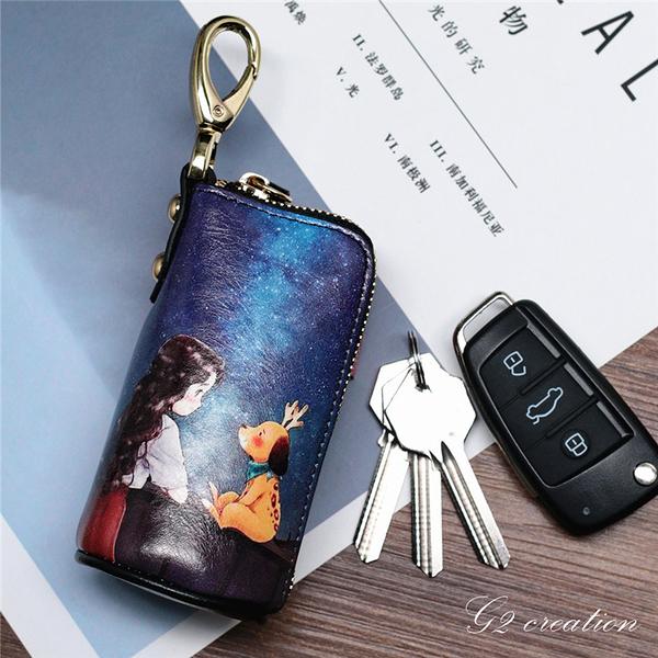韓版可愛手繪卡通動漫印花女車鑰匙包涂鴉彩繪拉錬掛包桶型鑰匙包 印巷家居