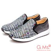 G.Ms. MIT系列-印花亮粉牛皮編織懶人鞋-黑色