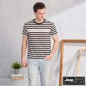 【JEEP】HiCool吸濕排汗條紋短袖TEE(黑色)