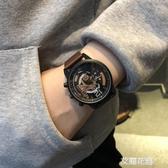 青少年手錶男學生雙飛輪機械鏤空裝飾手錶個性潮流女大錶盤石英錶『艾麗花園』