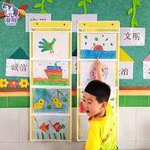 幼兒園畫畫作品展示掛袋3 格4 格6 格A4 透明教室收納袋圖書美術雜志【 免運八五折起】