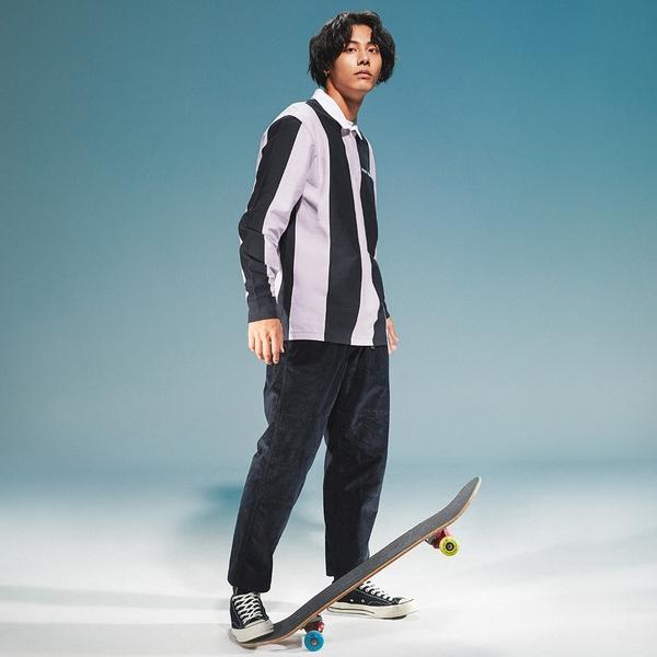 Levis 男款 長袖橄欖球T恤 / 滑板系列 / 潮流黑紫條紋