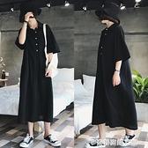短袖襯衫連身裙女韓版寬鬆大碼胖mm顯瘦減齡氣質學生長款過膝 奇妙商鋪