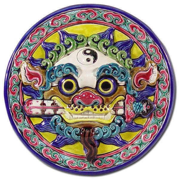 鹿港窯-居家開運商品-台灣國寶交趾陶裝飾壁飾-立體框【M 太極咬劍獅王】免運費送到家