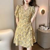 小洋裝 連身裙春夏季裙子碎花連身裙女裝復古法式顯瘦a字小個子T624快時尚