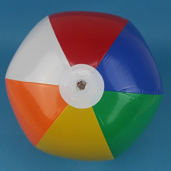 六色海灘球 吹氣海灘球 充氣玩具球 37cm/一個入{促40} 沙灘球 充氣球~佳YF10631