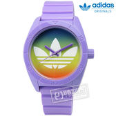 adidas 愛迪達 / ADH9072 / Originals Santiago 春日微光漸層暈染橡膠腕錶 彩色暈染x紫 40mm