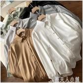 夏天薄款長袖冰絲襯衫韓版女士寬鬆仿真絲綢襯衣女衫159000 「錢夫人小鋪」