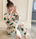 日式和服睡衣女秋夏純棉長袖甜美可愛春秋季家居服套裝薄款  艾尚旗艦店