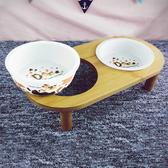 【索樂生活】寵物橢圓形竹木陶瓷雙碗架