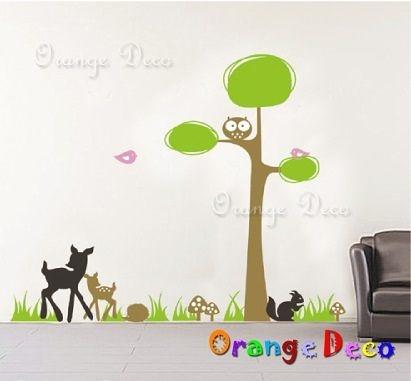 壁貼【橘果設計】小鹿斑比 DIY組合壁貼/牆貼/壁紙/客廳臥室浴室幼稚園室內設計裝潢