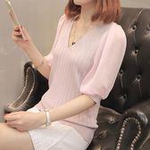 針織上衣 中袖t恤女夏裝2018新款薄款冰絲針織衫軟妹上衣女LJ8292『小美日記』