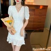 洋裝 雪紡連身裙女裝夏裝2021新款法式甜美氣質V領短袖a字收腰茶歇裙子 秋季新品